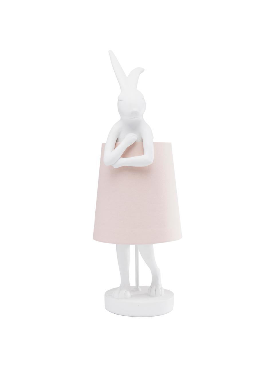 Lámpara de mesa grande de diseñoRabbit, Pantalla: lino, Cable: plástico, Blanco, rosa, Ø 23 x Al 68 cm