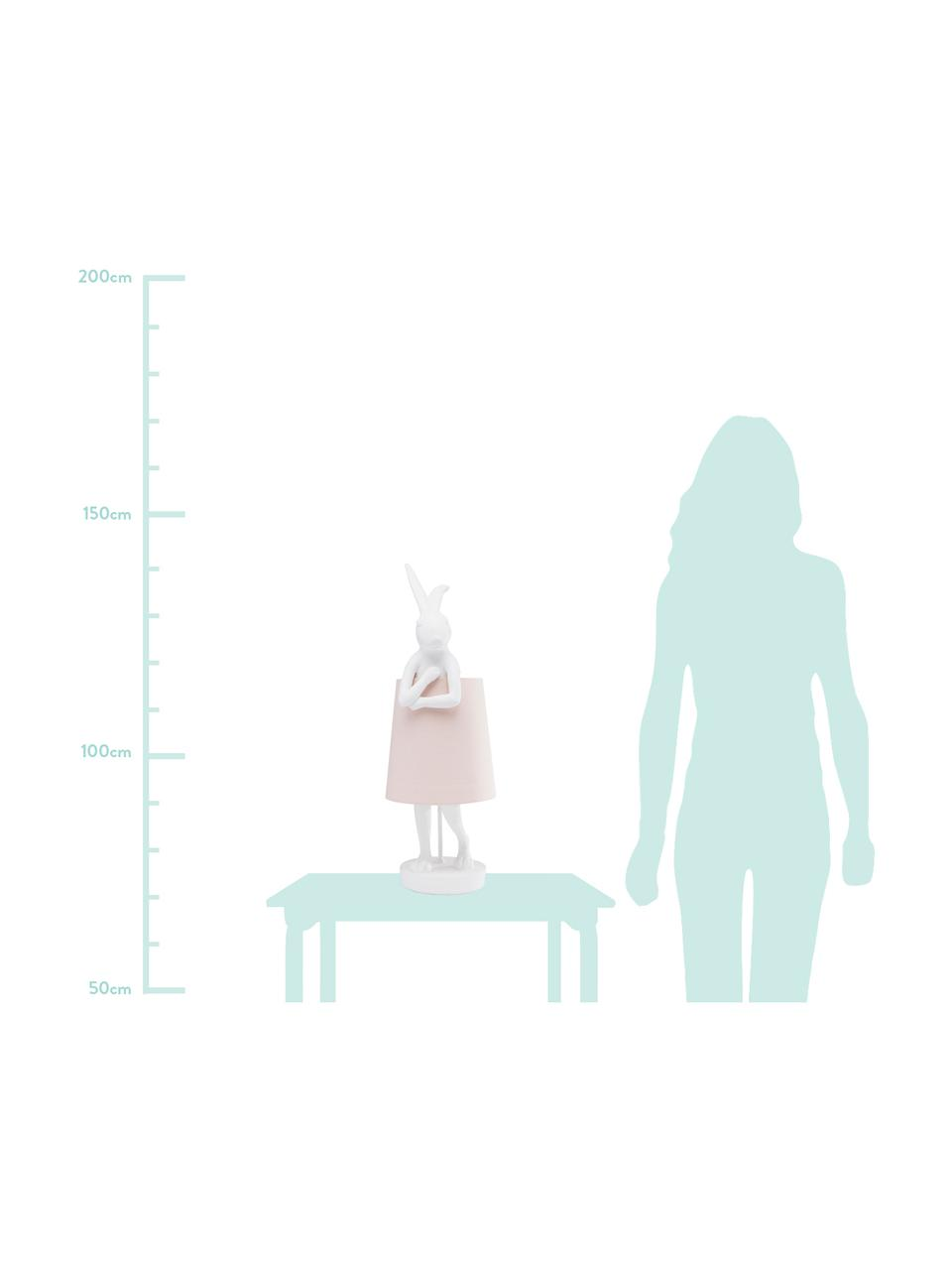 Große Design Tischlampe Rabbit, Lampenschirm: Leinen, Lampenfuß: Polyresin, Stange: Stahl, pulverbeschichtet, Weiß, Rosa, Ø 23 x H 68 cm