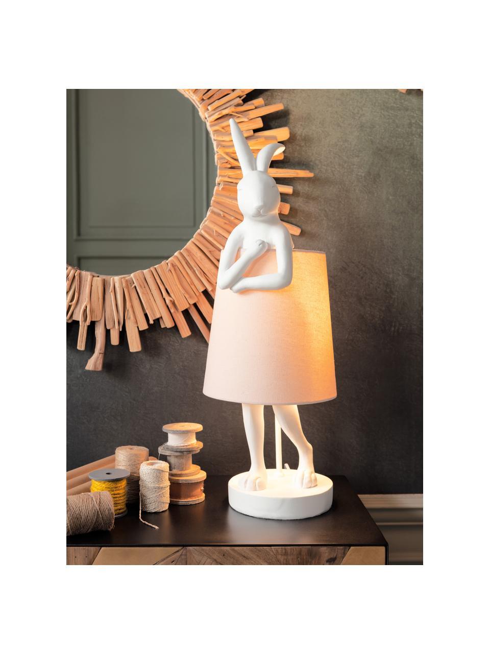Grote design tafellamp Rabbit, Lampenkap: linnen, Lampvoet: polyresin, Stang: gepoedercoat staal, Wit, roze, Ø 23 x H 68 cm