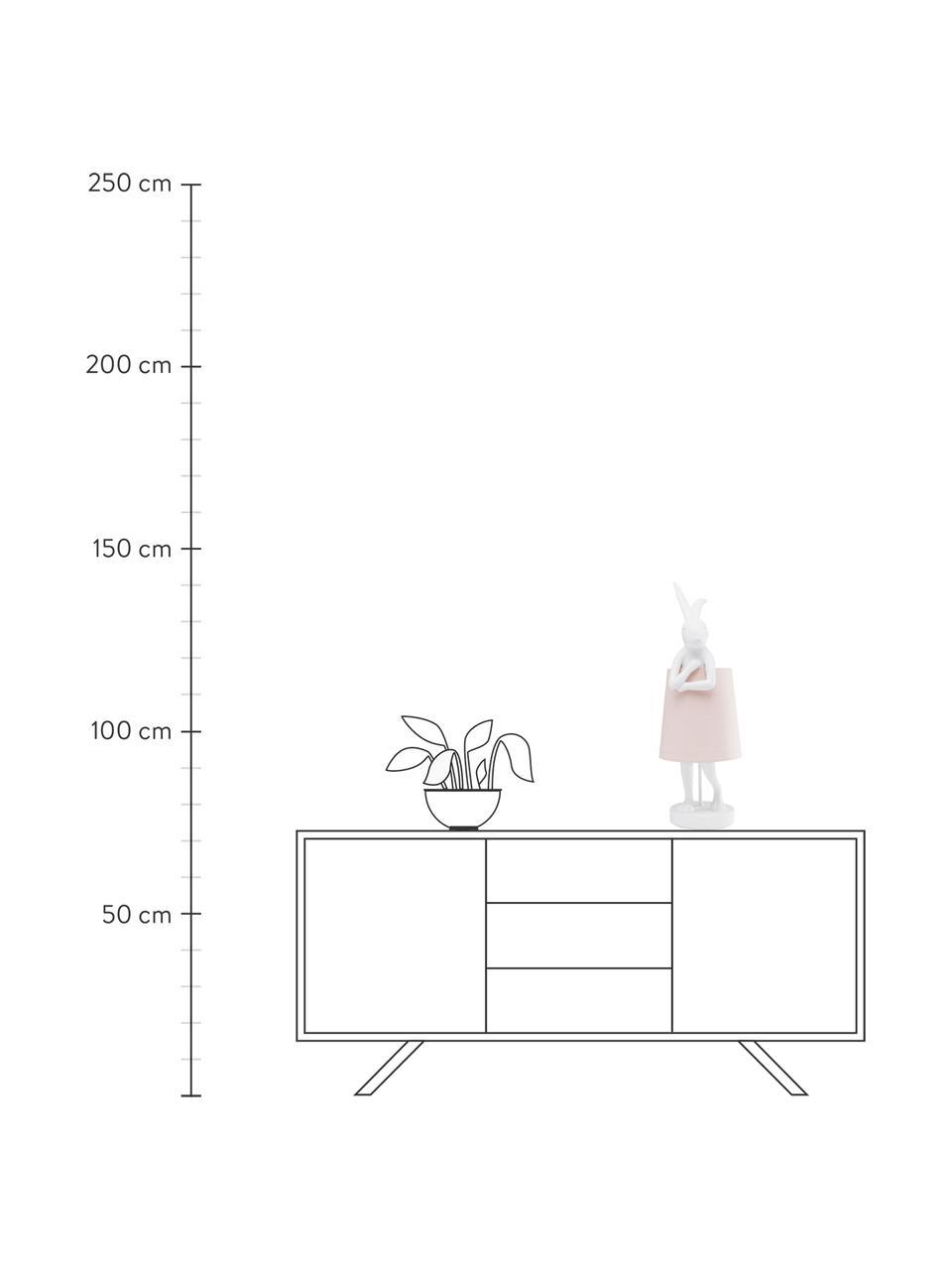 Lampada da tavolo di design Rabbit, Paralume: lino, Base della lampada: poliresina, Asta: acciaio verniciato a polv, Bianco, rosa, Ø 23 x Alt. 68 cm