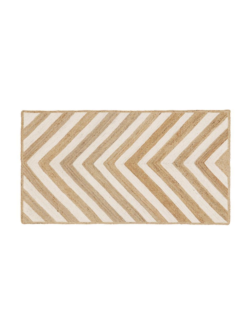 Handgefertigte Jute-Fußmatte Eckes, 100% Jute, Beige, Weiß, 50 x 80 cm