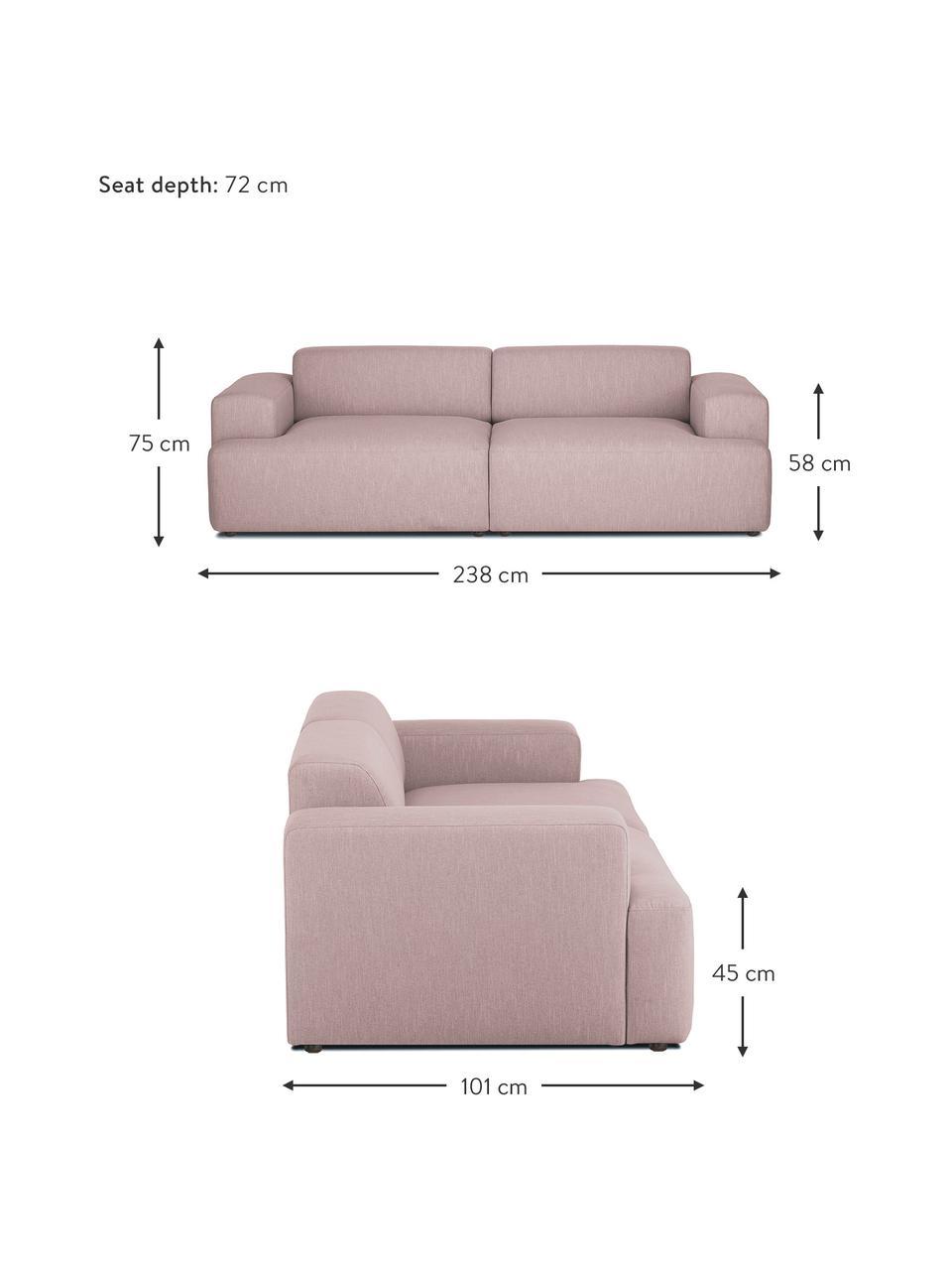 Bank Melva (3-zits) in roze, Bekleding: 100% polyester, Frame: massief grenenhout, FSC-g, Poten: kunststof, Geweven stof roze, 238 x 101 cm