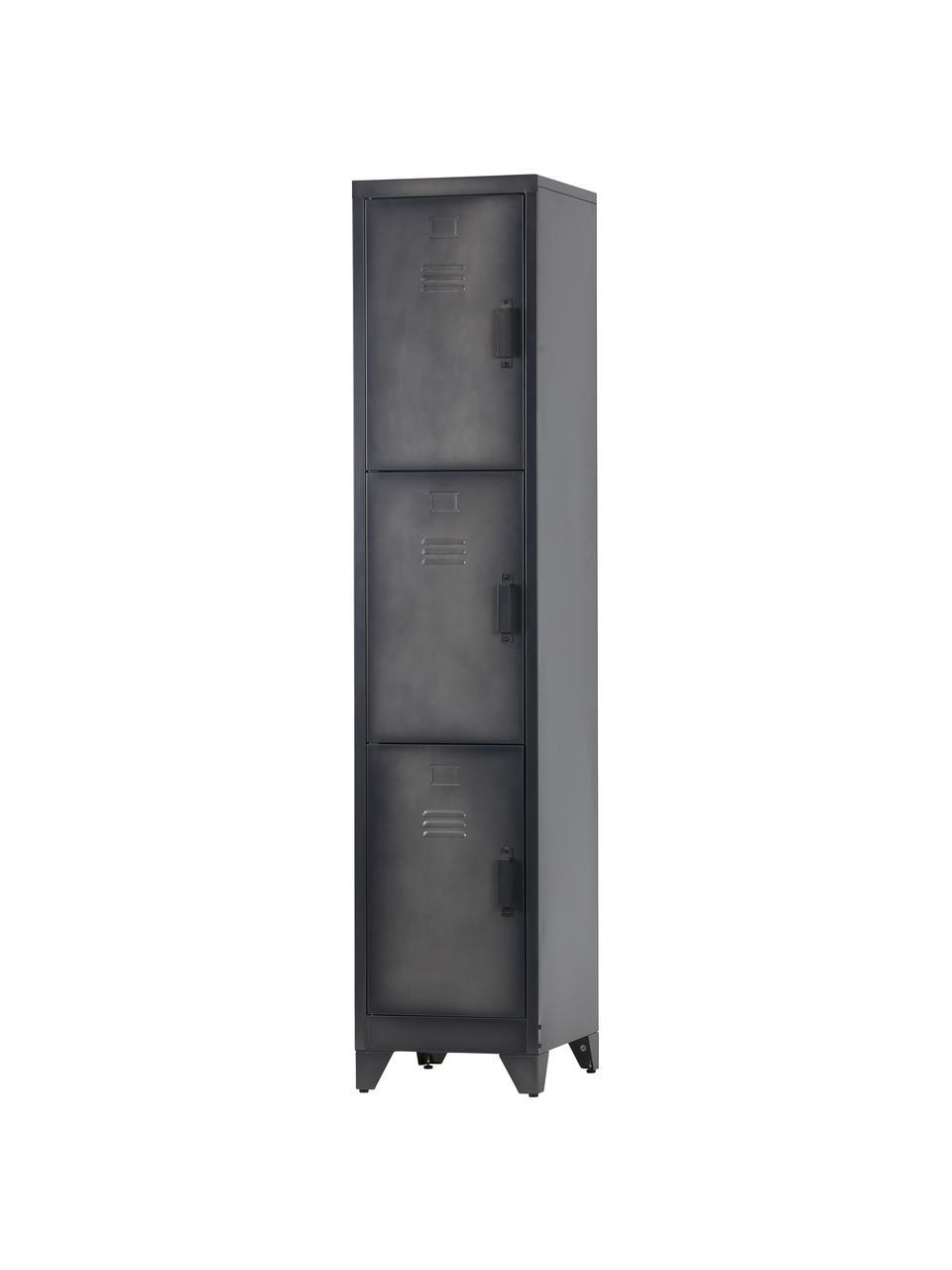 Armadietto in metallo Cas, Metallo rivestito, Grigio scuro, Larg. 38 x Alt. 180 cm