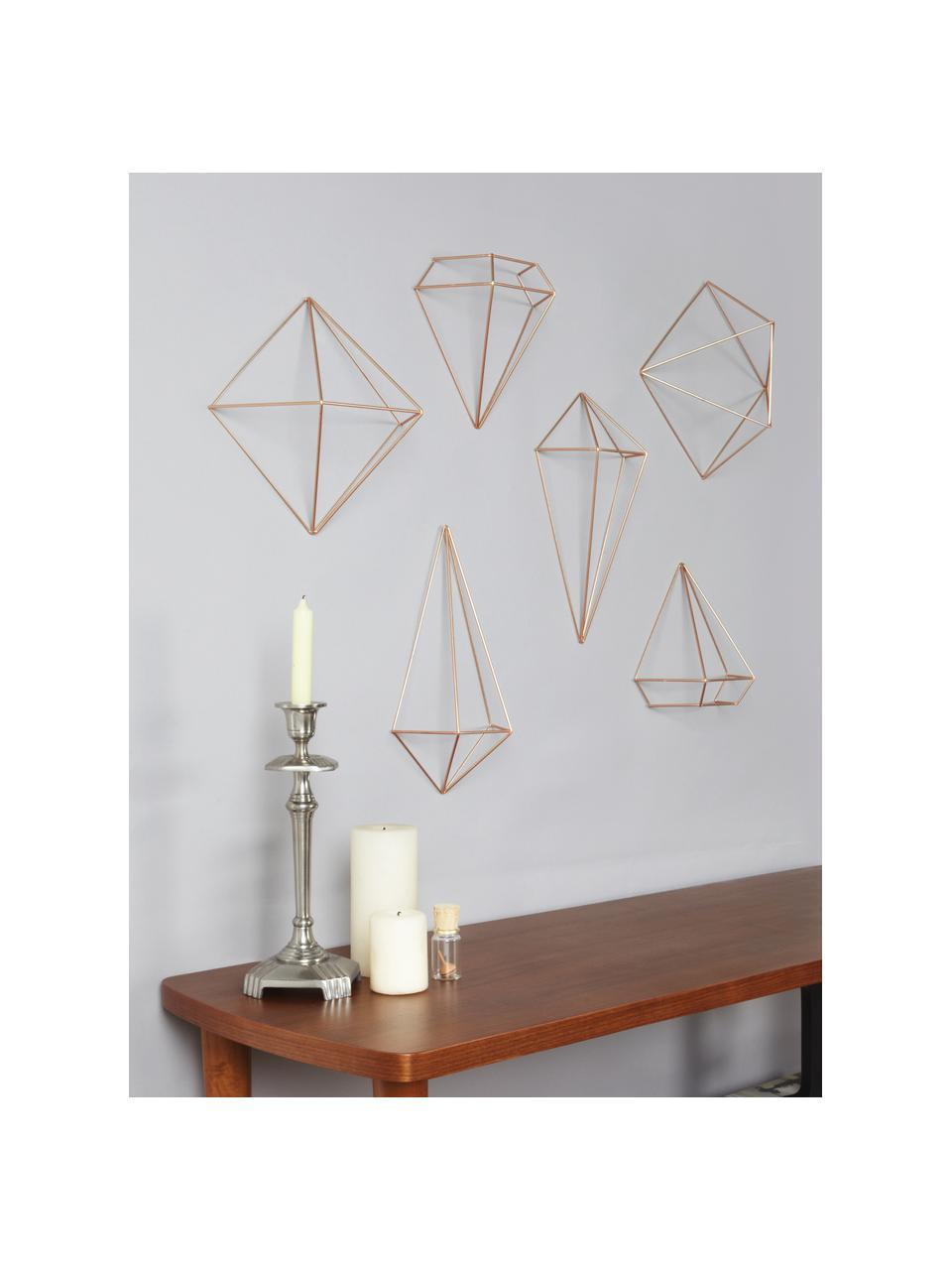 Wandobjekte-Set Prisma aus lackiertem Metall, 6-tlg., Metall, lackiert, Kupferfarben, Sondergrößen