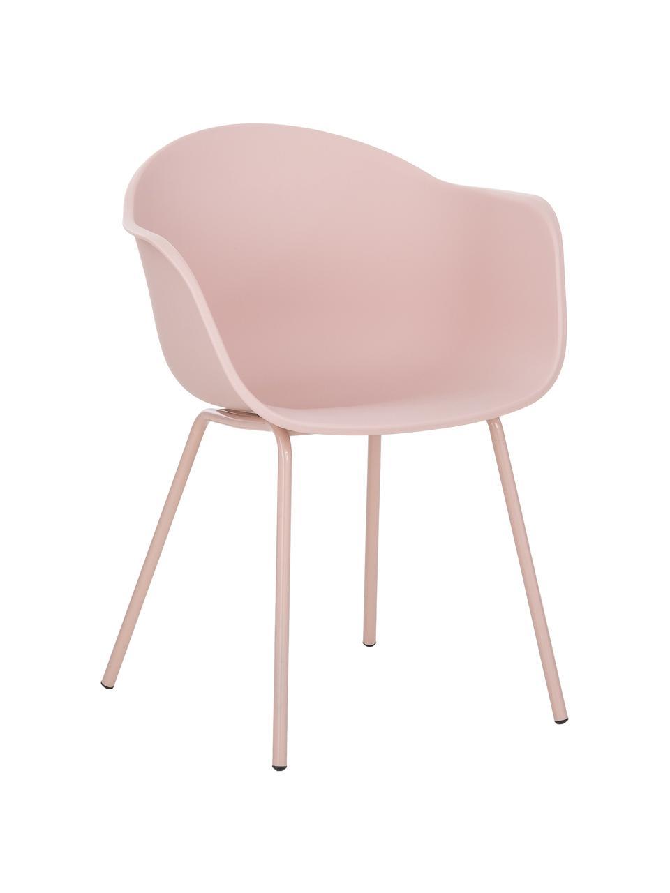 Krzesło z podłokietnikami z tworzywa sztucznego Claire, Nogi: metal malowany proszkowo, Blady różowy, S 60 x G 54 cm
