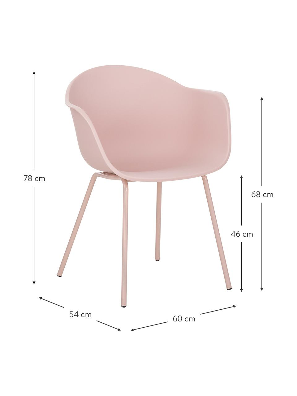 Sedia con braccioli in plastica con gambe in metallo Claire, Seduta: materiale sintetico, Gambe: metallo verniciato a polv, Rosa, Larg. 60 x Alt. 54 cm