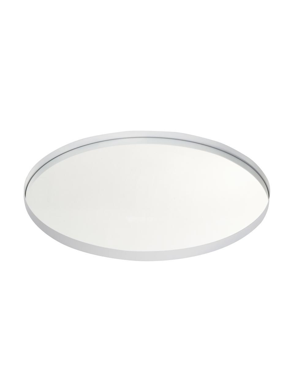 Runder Wandspiegel Ivy mit weißem Metallrahmen, Rahmen: Metall, pulverbeschichtet, Rückseite: Mitteldichte Holzfaserpla, Spiegelfläche: Spiegelglas, Weiß, Ø 55 x T 3 cm