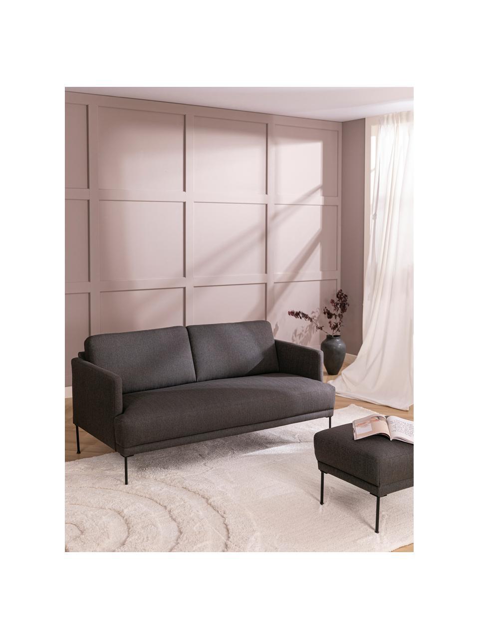 Sofa Fluente (2-Sitzer) in Dunkelgrau mit Metall-Füßen, Bezug: 100% Polyester Der hochwe, Gestell: Massives Kiefernholz, Füße: Metall, pulverbeschichtet, Webstoff Dunkelgrau, B 166 x T 85 cm