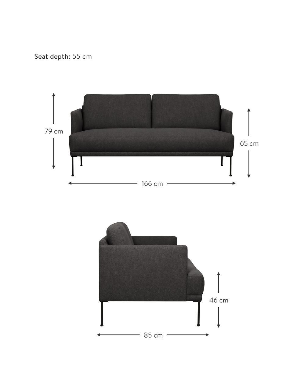 Sofa z metalowymi nogami Fluente (2-osobowa), Tapicerka: 100% poliester Dzięki tka, Nogi: metal malowany proszkowo, Ciemnyszary, S 166 x G 85 cm