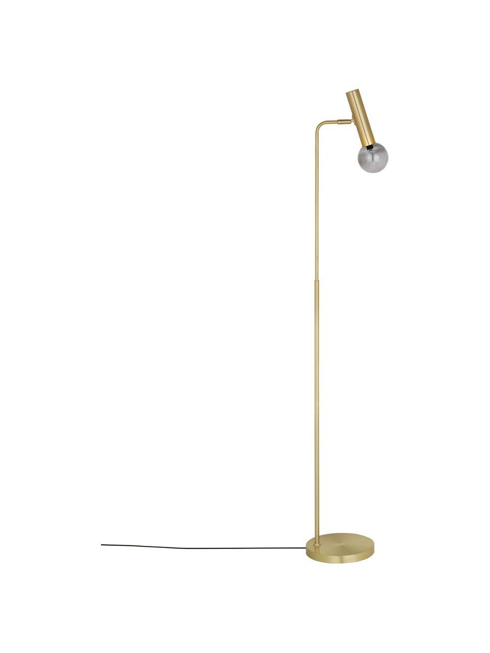 Leselampe Wilson mit Glasschirm, Lampenschirm: Glas, Metall, Lampenfuß: Metall, vermessingt, Messing, 28 x 151 cm