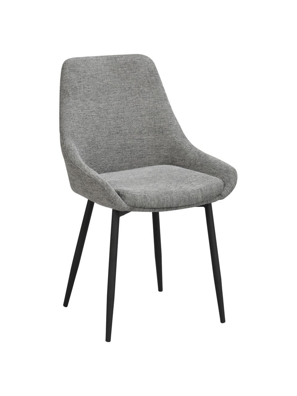 Gestoffeerde stoelen Sierra in grijs, 2 stuks, Bekleding: 100% polyester, Poten: gepoedercoat metaal, Geweven stof grijs, 49 x 55 cm