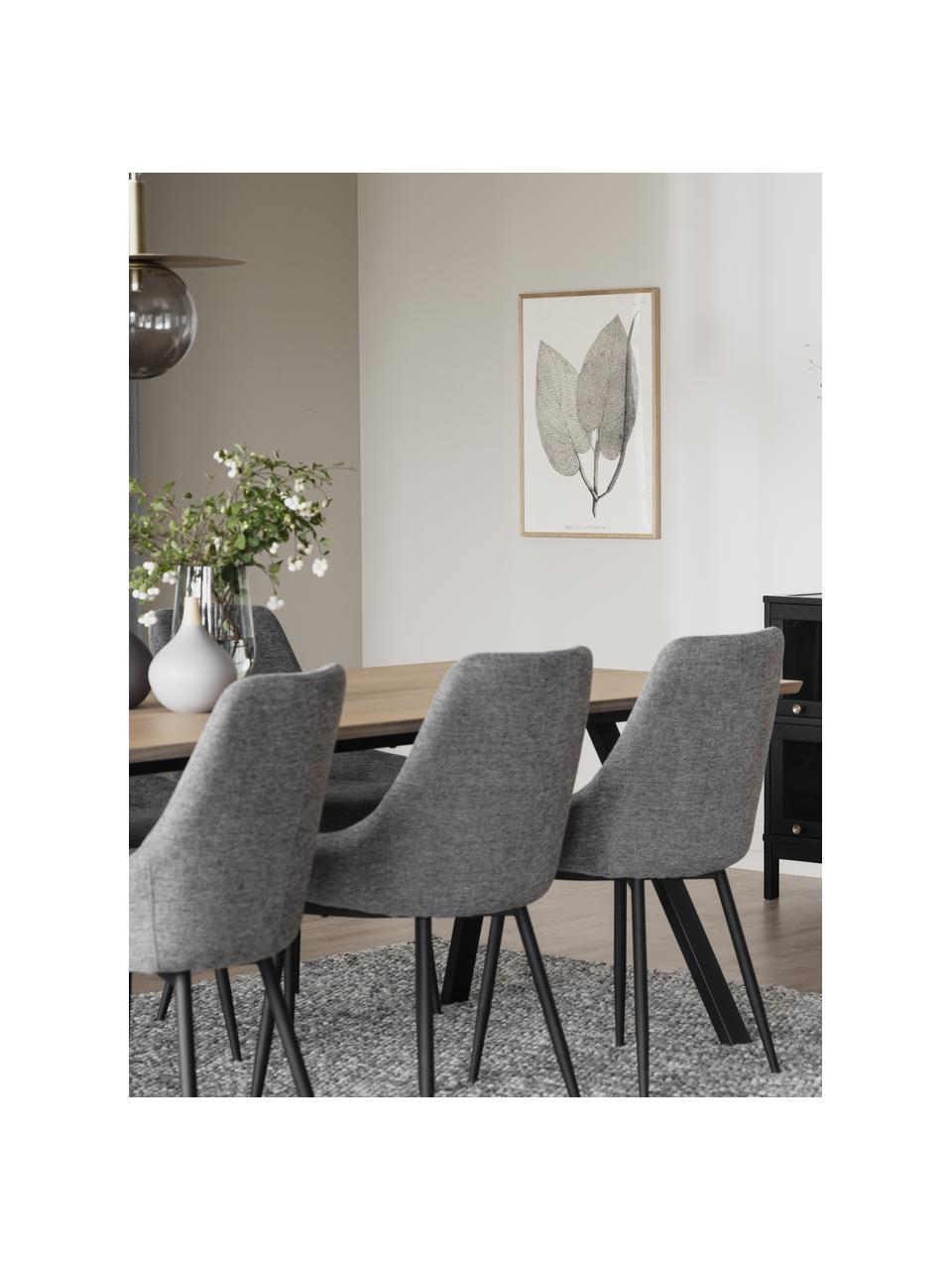 Krzesło tapicerowane Sierra, 2 szt., Tapicerka: 100% poliester, Nogi: metal malowany proszkowo, Szary, S 49 x G 55 cm
