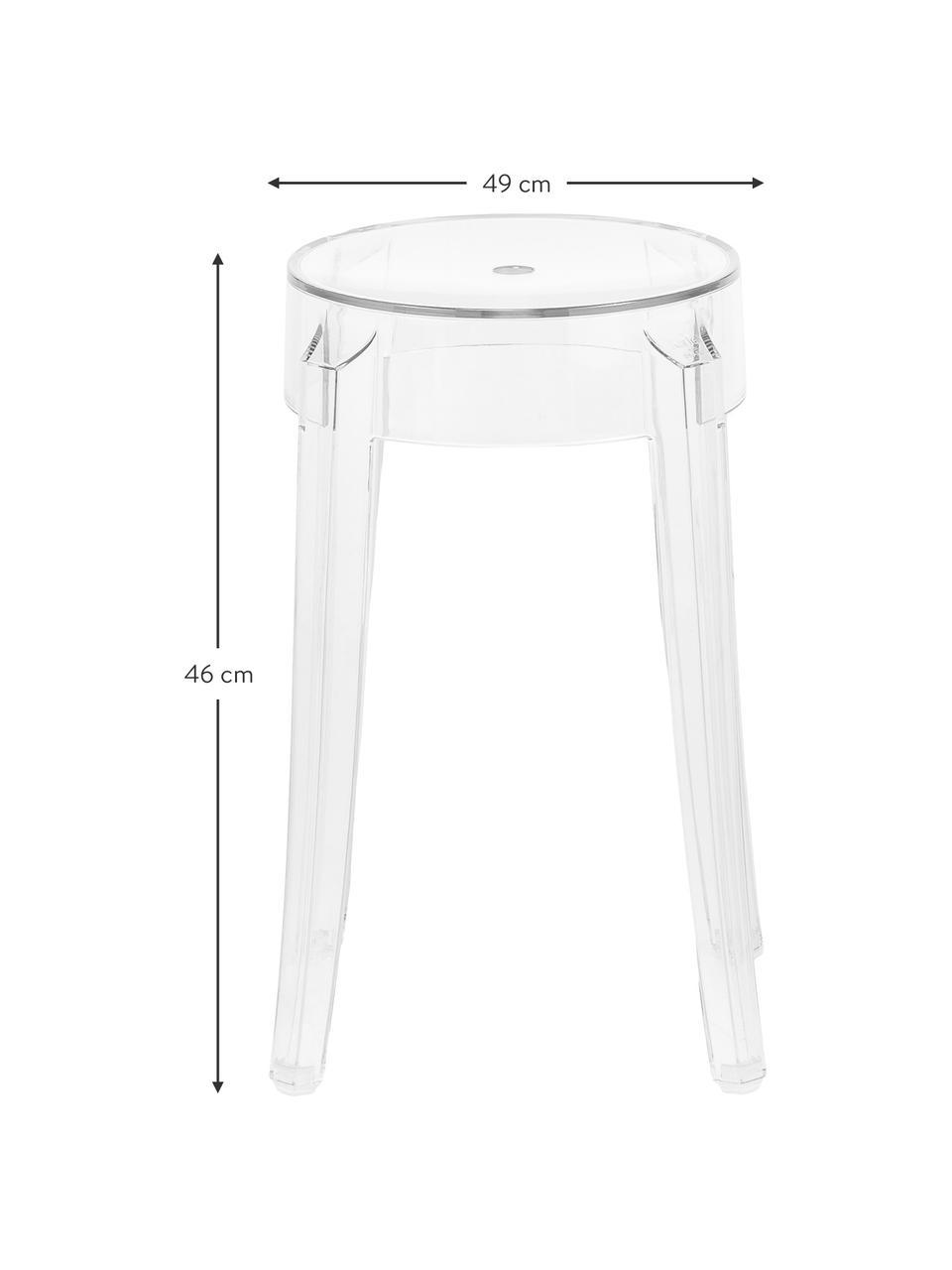 Sgabello / tavolino trasparente Charles Ghost, Policarbonato, Trasparente, Ø 39 x Alt. 46 cm