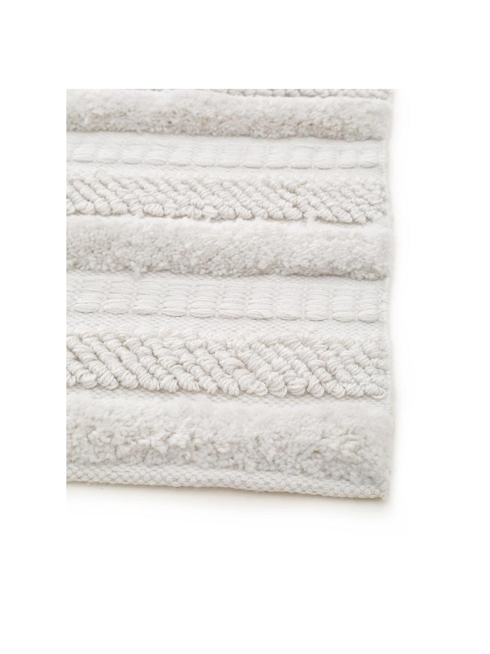 In- & outdoor vloerkleed Toni met hoog-laag structuur, 100% polyester (gerecycled PET), Ivoorkleurig, 200 x 300 cm