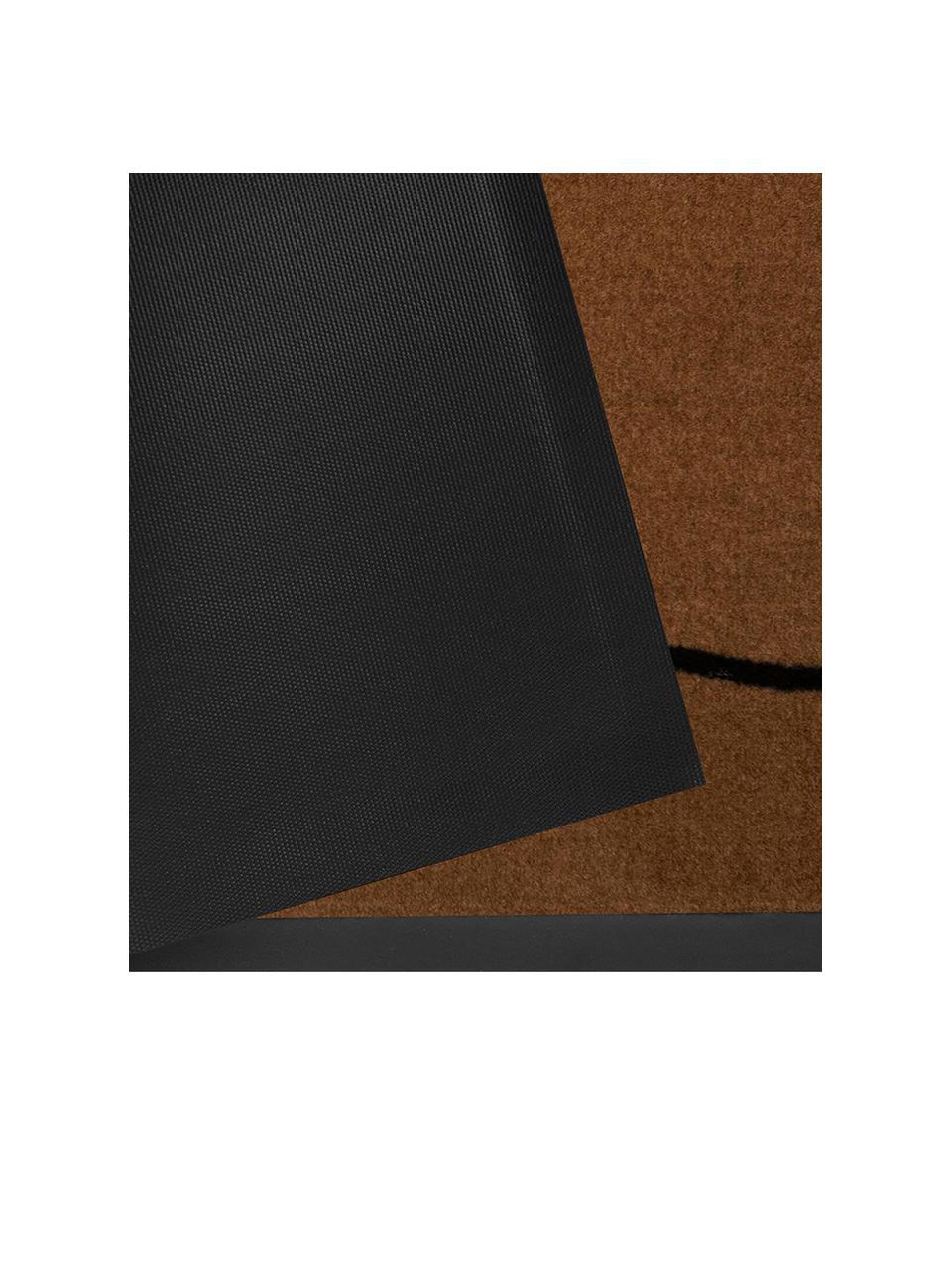 Polyamid-Fußmatte Cozy Welcome, Vorderseite: Polyamid, Rückseite: Gummi, Braun, Schwarz, 45 x 75 cm