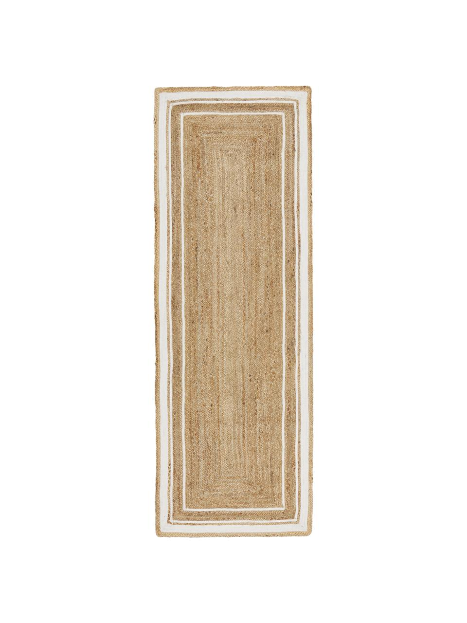 Handgewebter Jute-Läufer Clover, 100% Jute, Beige, Weiß, 80 x 250 cm