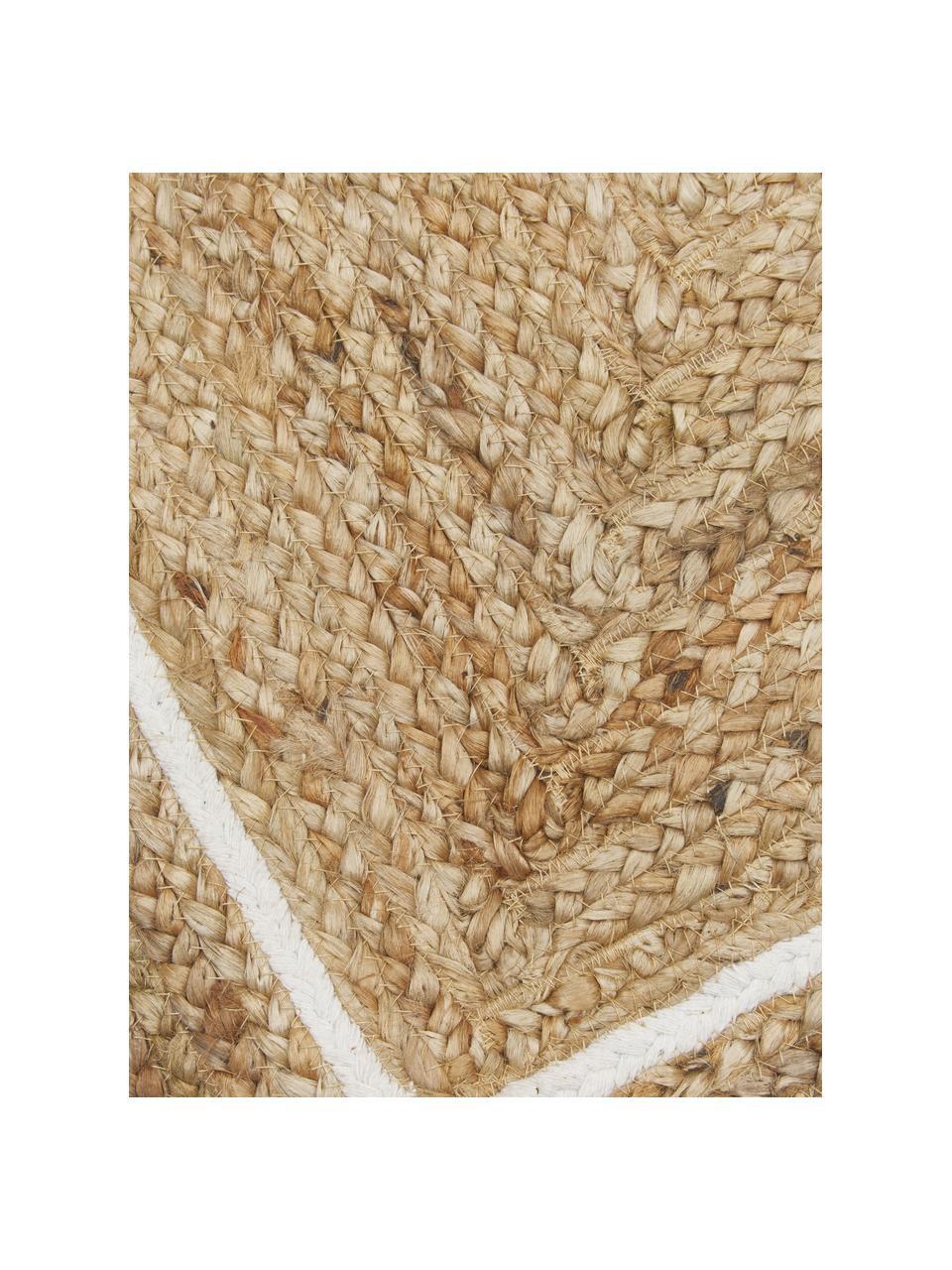 Handgeweven juten loper Clover, 100% jute, Beige, wit, 80 x 250 cm