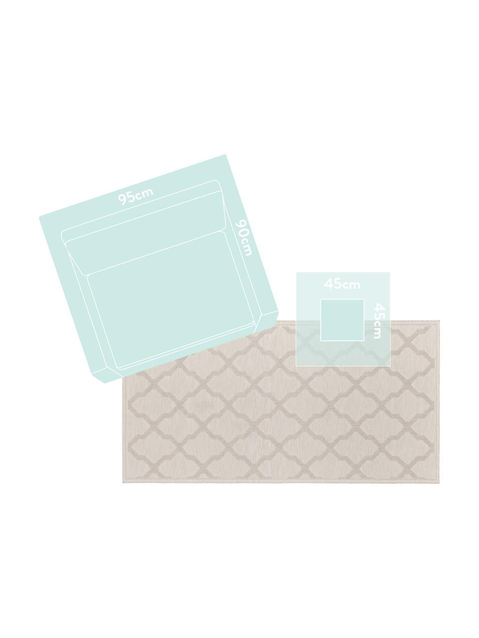 In- en outdoor vloerkleed Heaven in geknoopte macramé-look, crèmekleur, 100% polypropyleen, Crèmekleurig, B 80 x L 150 cm (maat XS)