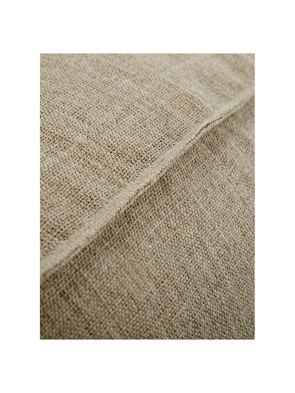 Handgemaakt linnen vloerkussen Saffron, Bekleding: 100% linnen, Onderzijde: katoen, Taupe, 50 x 25 cm