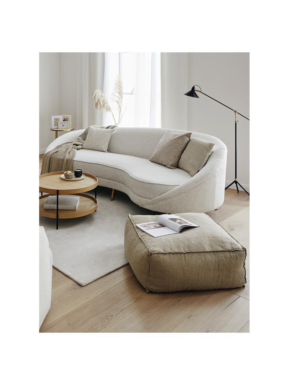 Ręcznie wykonana poduszka podłogowa z lnu Saffron, Tapicerka: 100% len, Taupe, S 50 x W 25 cm