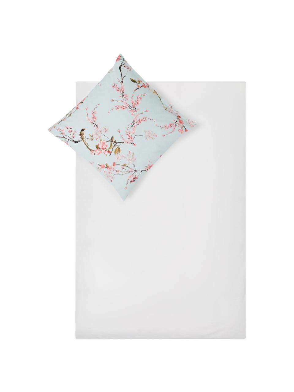 Pościel z bawełny Chinoiserie, Miętowy, odcienie różowego, zielony, biały, 140 x 200 cm + 1 poduszka 80 x 80 cm