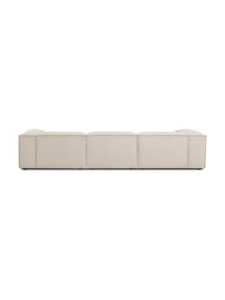 Modulaire bank Lennon (4-zits) in beige van corduroy, Bekleding: corduroy (92% polyester, , Frame: massief grenenhout, multi, Poten: kunststof De poten bevind, Corduroy beige, 327 x 119 cm