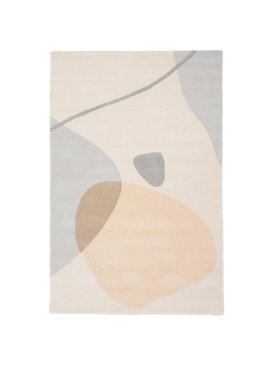 Tapis en laine tufté main Luke, Beige, gris, abricot