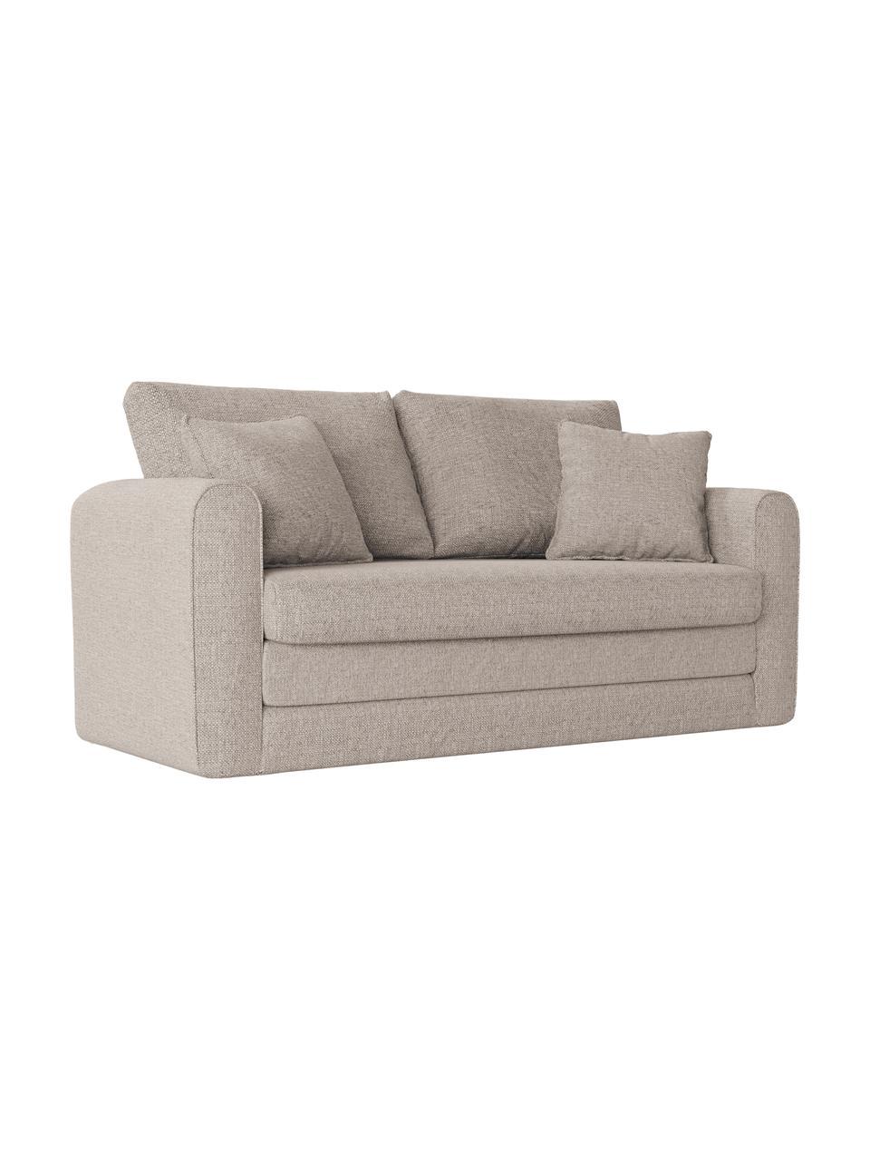 Sofa rozkładana Lido (2-osobowa), Tapicerka: poliester imitujący len D, Nogi: tworzywo sztuczne, Jasny szary, S 158 x G 69 cm