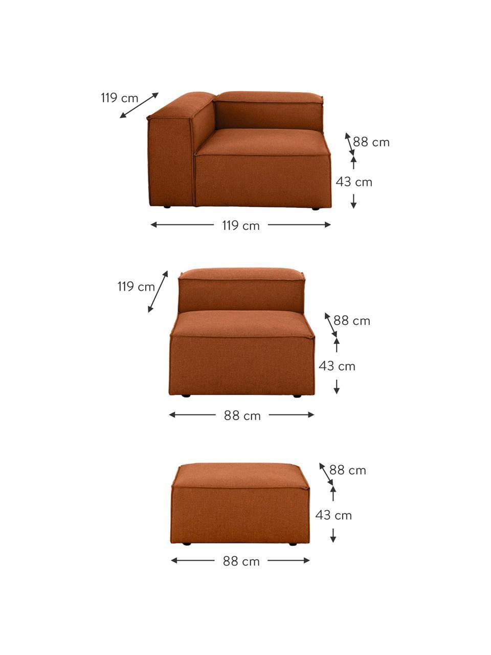 Canapé d'angle modulable terracotta Lennon, Tissu terre cuite
