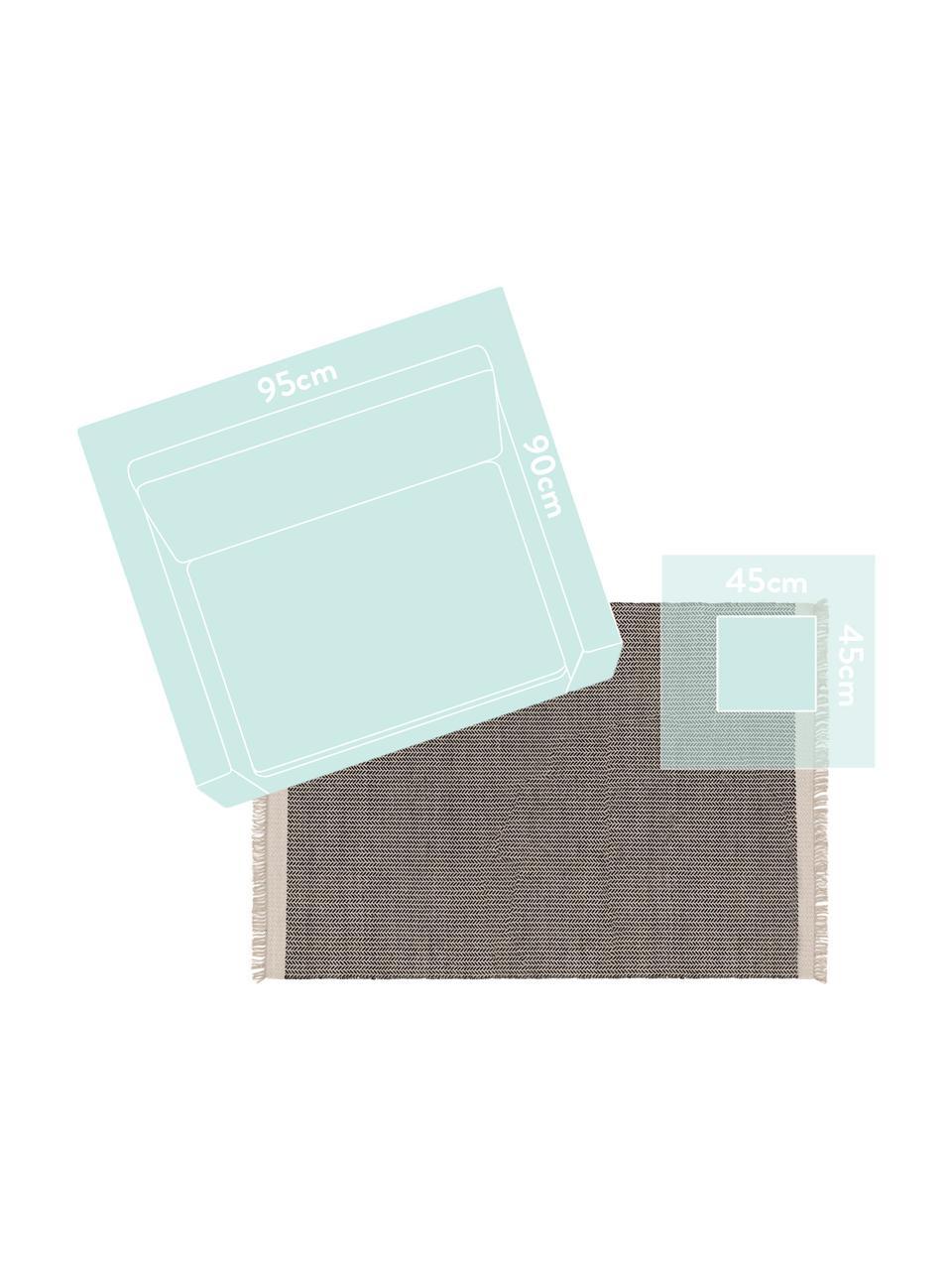 Ręcznie tkany dywan z wełny z frędzlami Kim, 80% wełna, 20% bawełna Włókna dywanów wełnianych mogą nieznacznie rozluźniać się w pierwszych tygodniach użytkowania, co ustępuje po pewnym czasie, Czarny, kremowobiały, S 120 x D 170 cm (Rozmiar S)