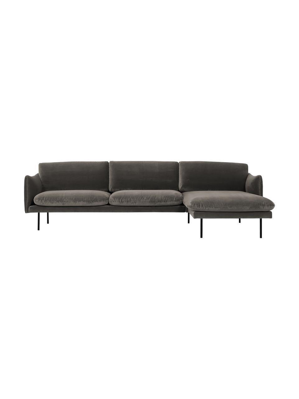 Sofa narożna z aksamitu z metalowymi nogami Moby, Tapicerka: aksamit (wysokiej jakości, Nogi: metal malowany proszkowo, Aksamitny szarobrązowy, S 280 x G 160 cm