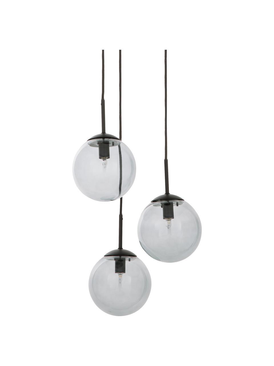 Suspension industrielle 3 lampes boules en verre Edie, Gris, noir