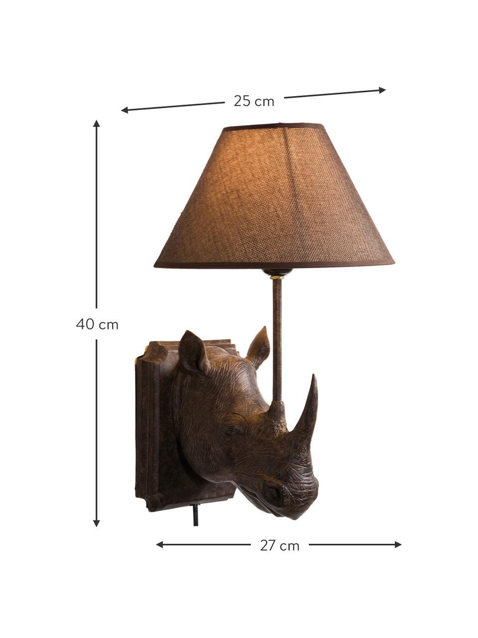 Design Wandleuchte Rhino mit Stecker, Lampenschirm: Leinen, Gestell: Stahl, Braun, 27 x 40 cm