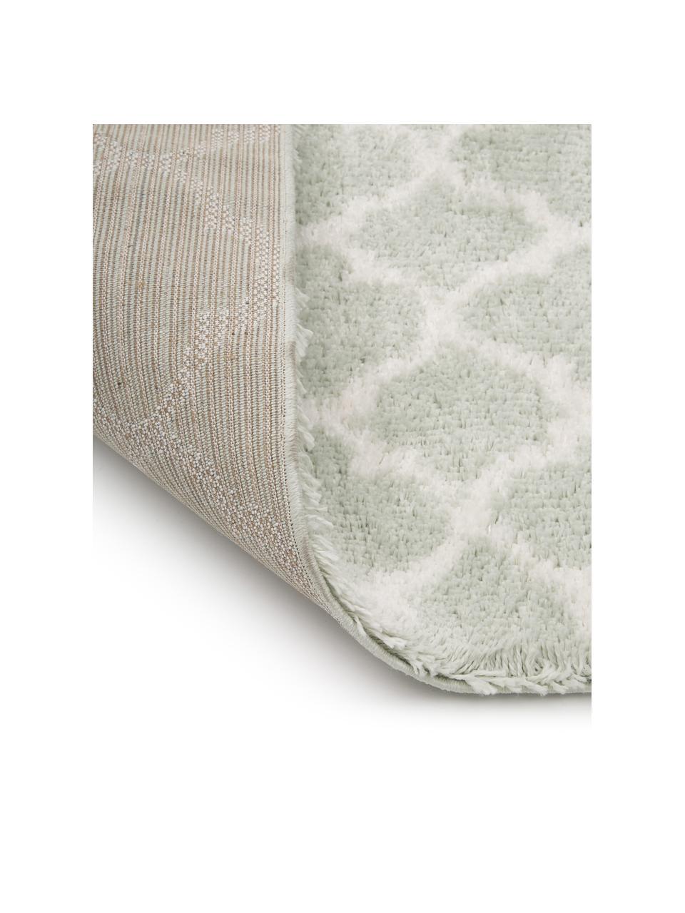 Passatoia a pelo lungo verde menta/crema Mona, Retro: 78% juta, 14% cotone, 8% , Verde menta, bianco crema, Larg. 80 x Lung. 250 cm