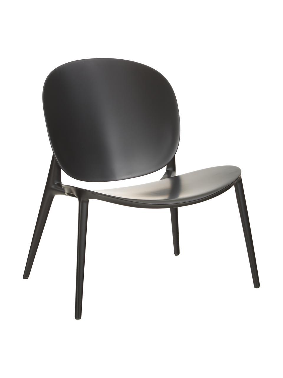 Fotel wypoczynkowy z tworzywa sztucznego Be Bop, Modyfikowany polipropylen, Czarny, S 69 x G 62 cm