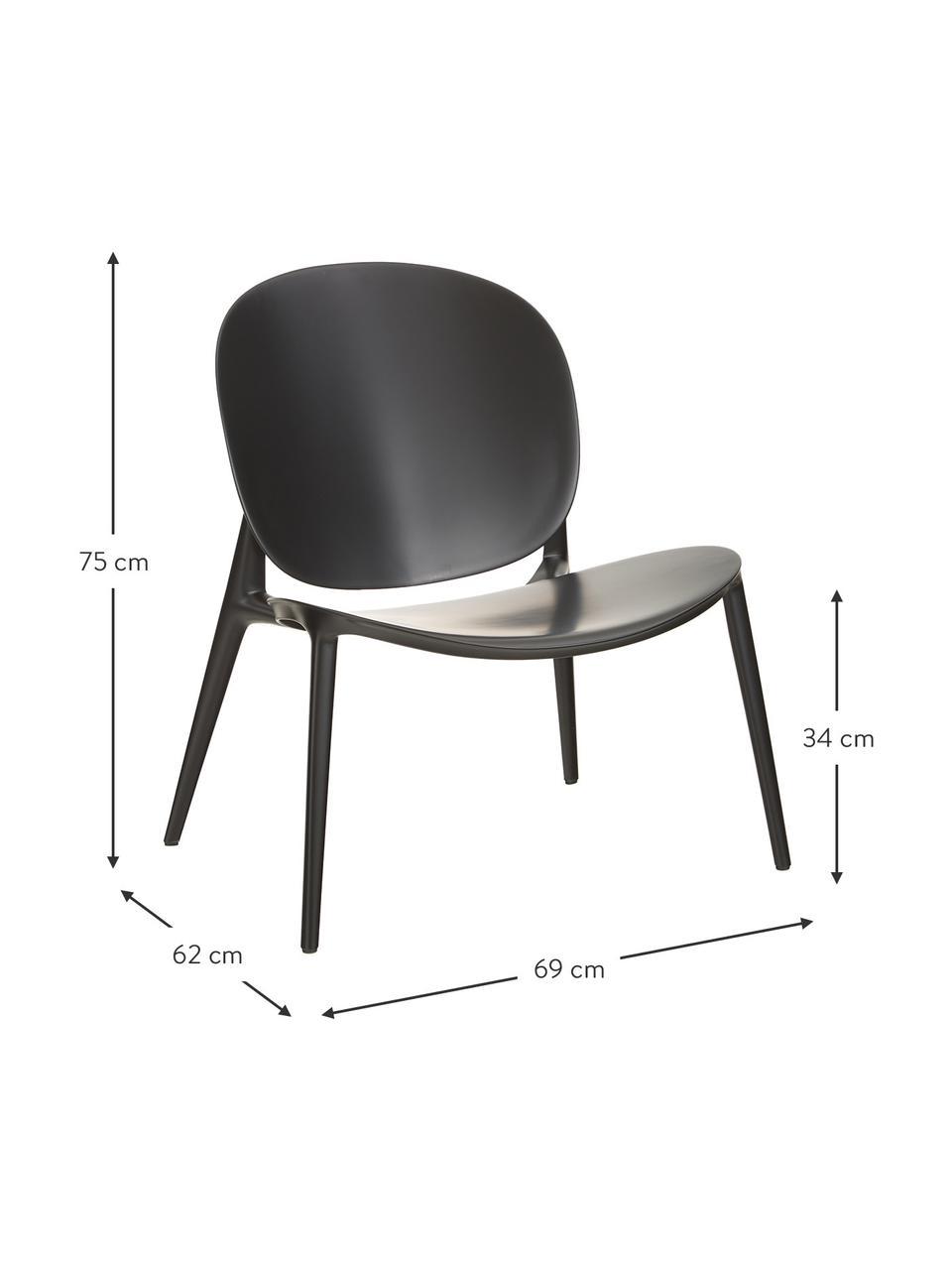 Sedia a poltrona in materiale sintetico Be Bop, Polipropilene modificato, Nero, Larg. 69 x Prof. 62 cm