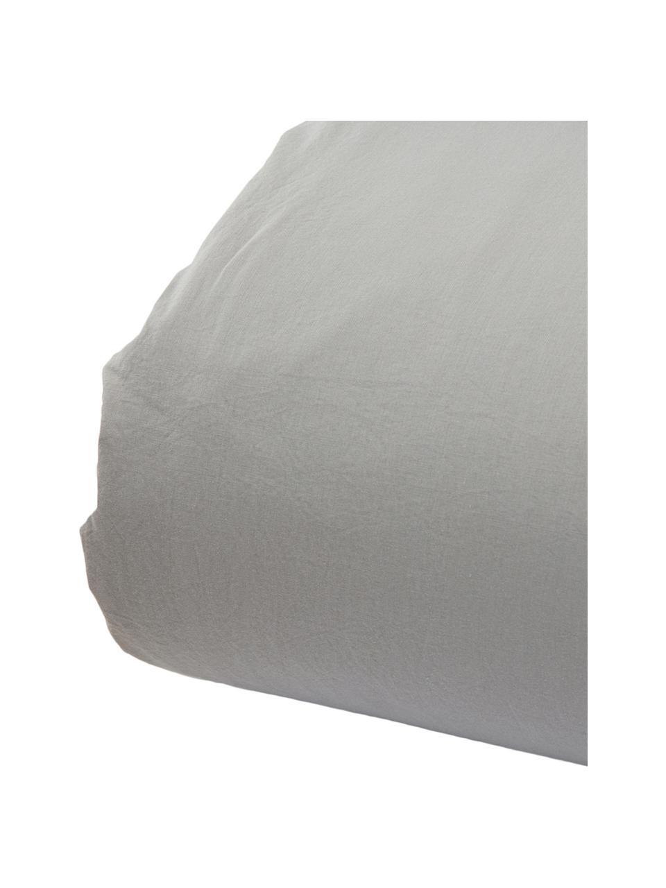Parure copripiumino in cotone effetto stone washed Velle, Tessuto: cotone ranforce, Fronte e retro: grigio chiaro, 155 x 200 cm + 1 federa 50 x 80 cm