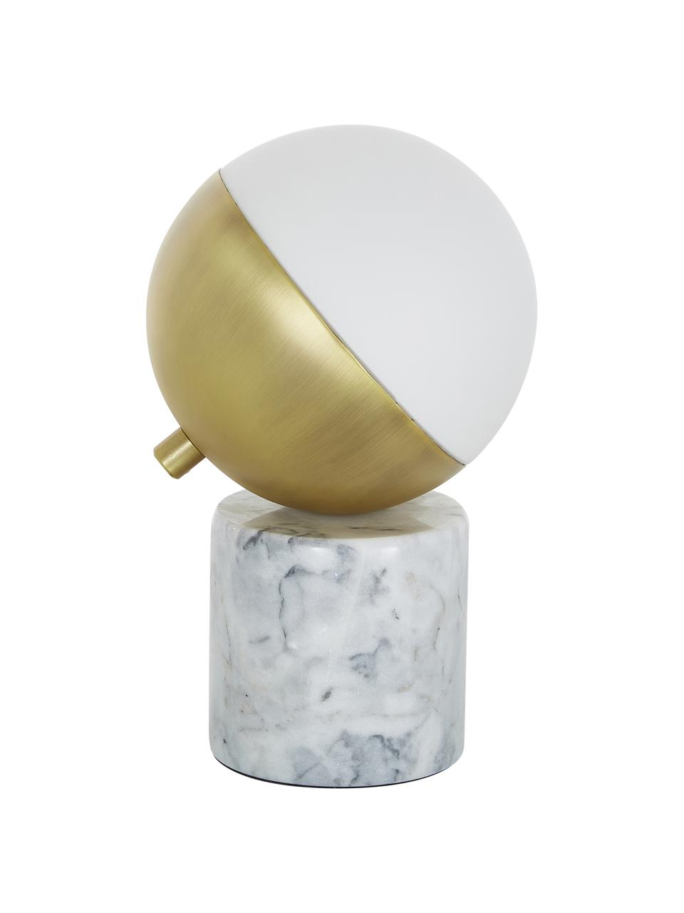 Lampe à poser en marbre Svea, Pied de lampe: marbre blanc Abat-jour: blanc, couleur dorée, mat Câble: noir