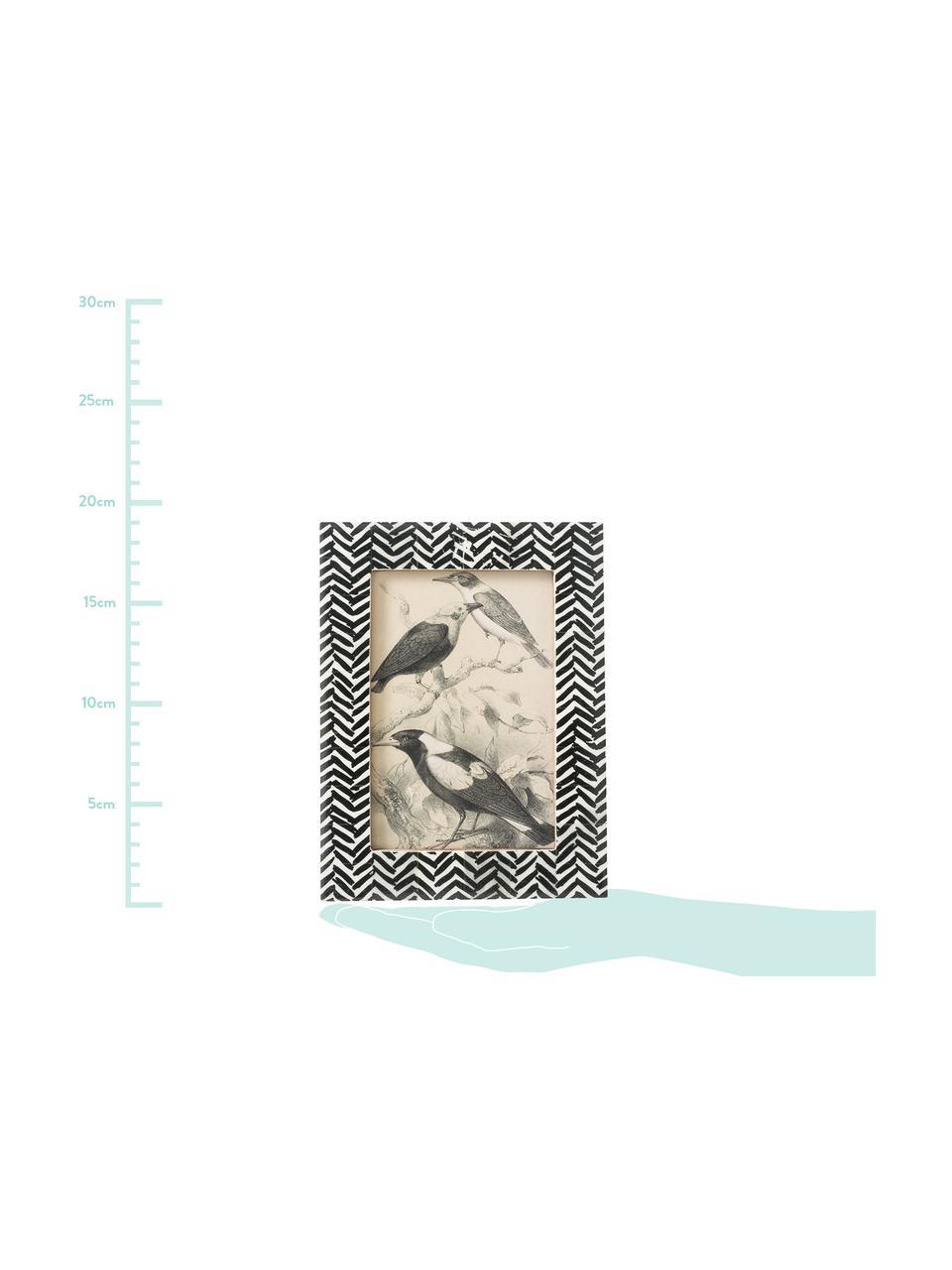 Bilderrahmen Zack, Rahmen: Büffelknochen, Front: Glas, Rückseite: Mitteldichte Holzfaserpla, Schwarz, Weiß, 10 x 15 cm