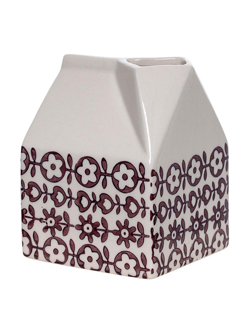 Pot à lait rustique en grès fait main Karine, Violet, blanc