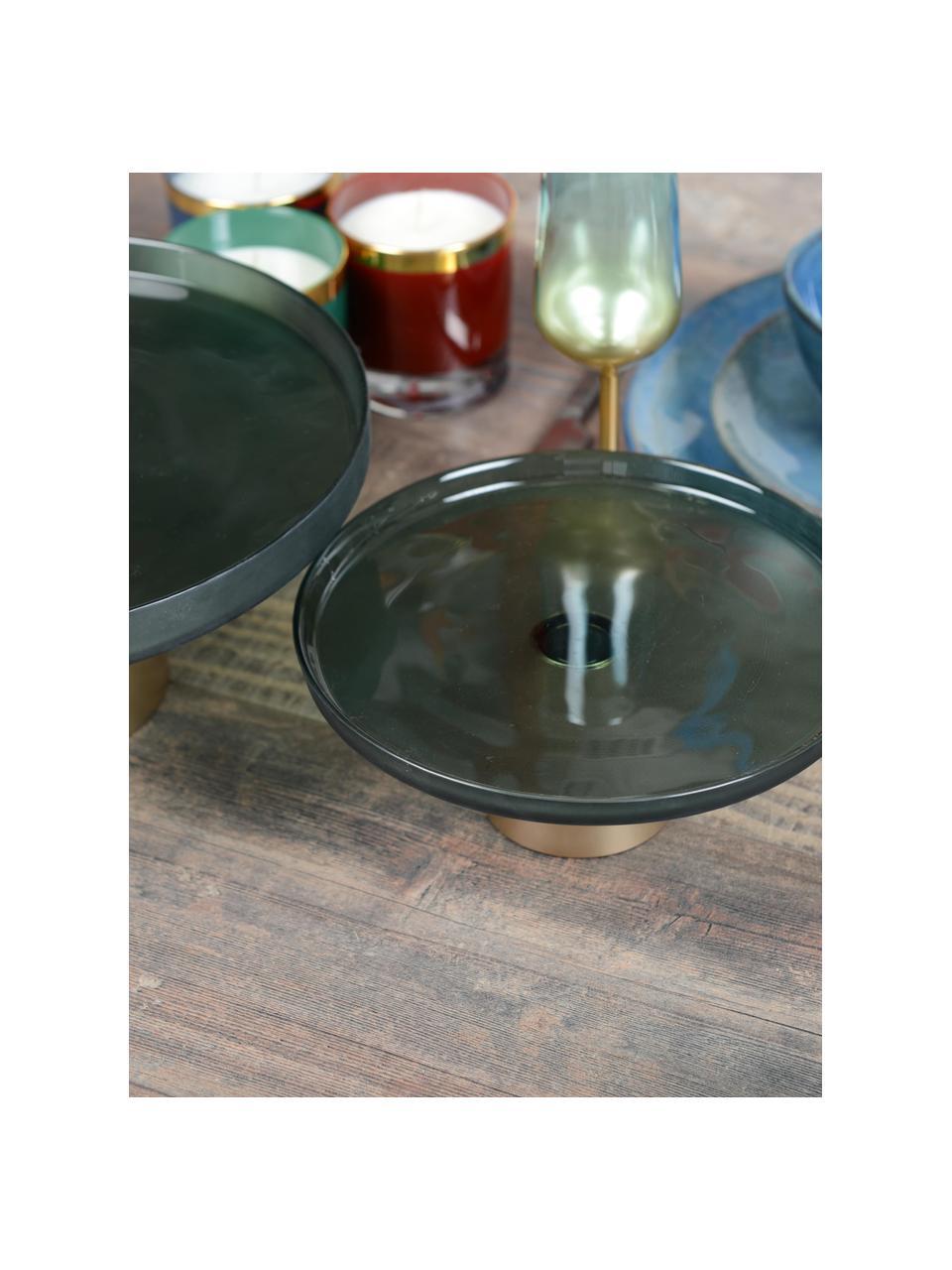 Plat à gâteau en verre avec une base dorée Salba, différentes tailles, Vert, couleur dorée