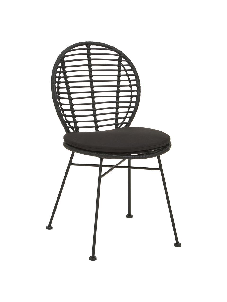 Sedia in polirattan con cuscino Cordula 2 pz, Seduta: intreccio polietilene, Struttura: metallo verniciato a polv, Nero, Larg. 48 x Prof. 57 cm