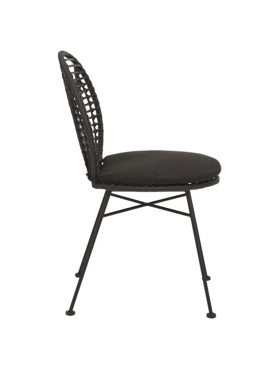 Krzesło z polirattanu  poduszką na siedzisko Cordula, 2 szt., Stelaż: metal malowany proszkowo, Czarny, S 48 x G 57 cm