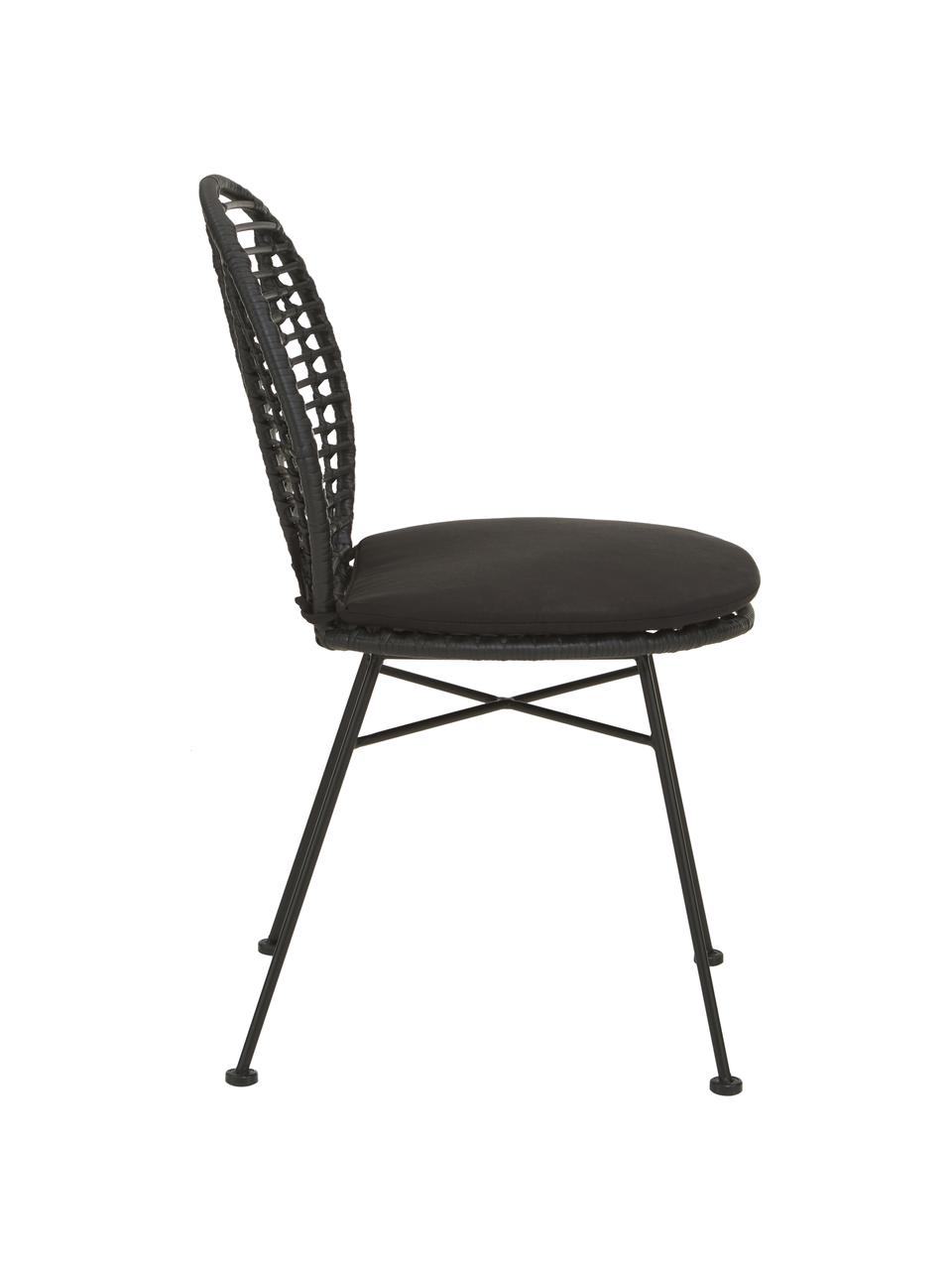 Polyrotan stoelen Cordula stoelkussen, 2 stuks, Zitvlak: polyethyleen vlechtwerk, Frame: gepoedercoat metaal, Zwart, 48 x 57 cm