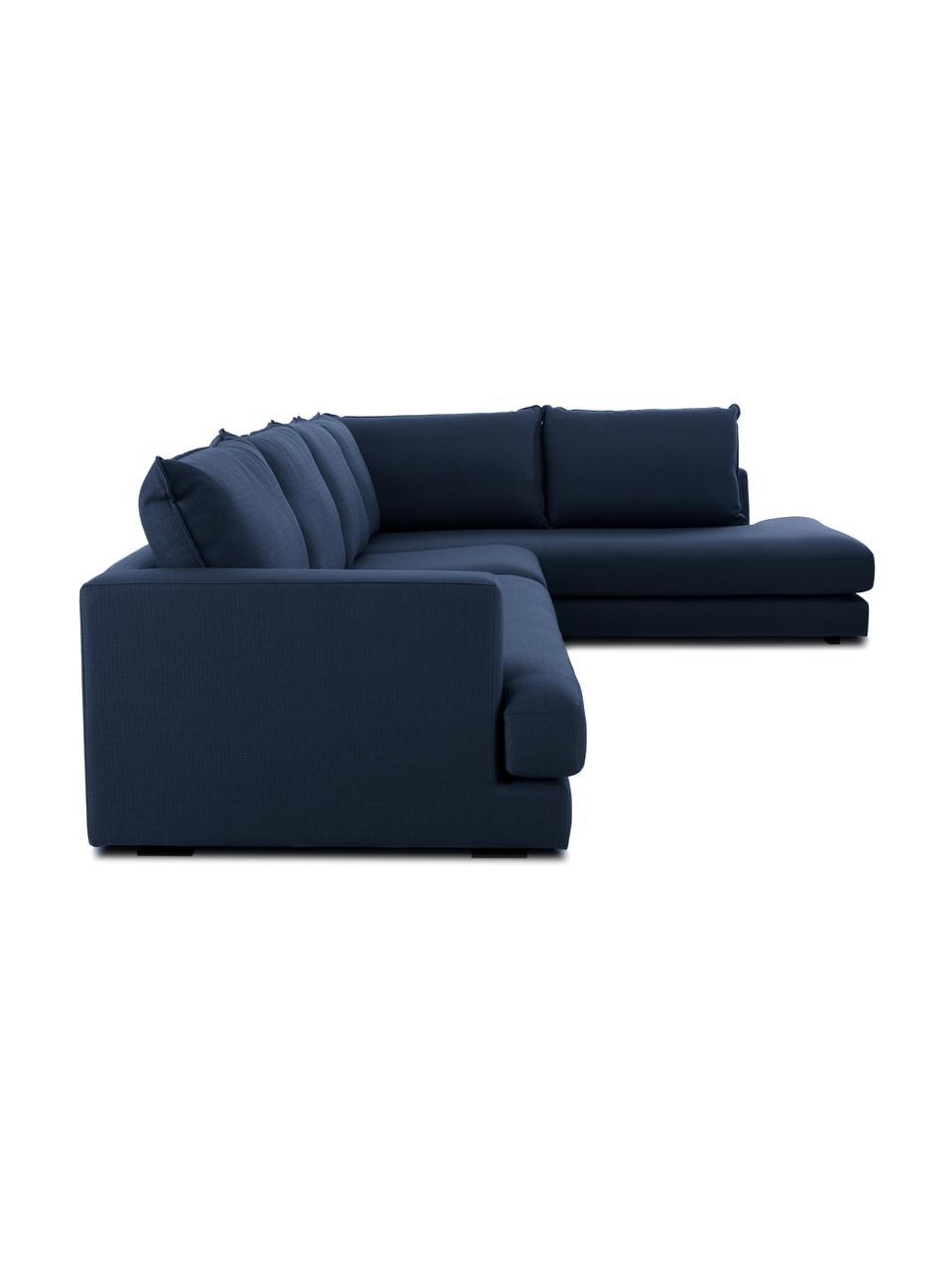 XL hoekbank Tribeca in donkerblauw, Bekleding: 100% polyester, Frame: massief beukenhout, Poten: massief gelakt beukenhout, Stof donkerblauw, B 405 x D 228 cm