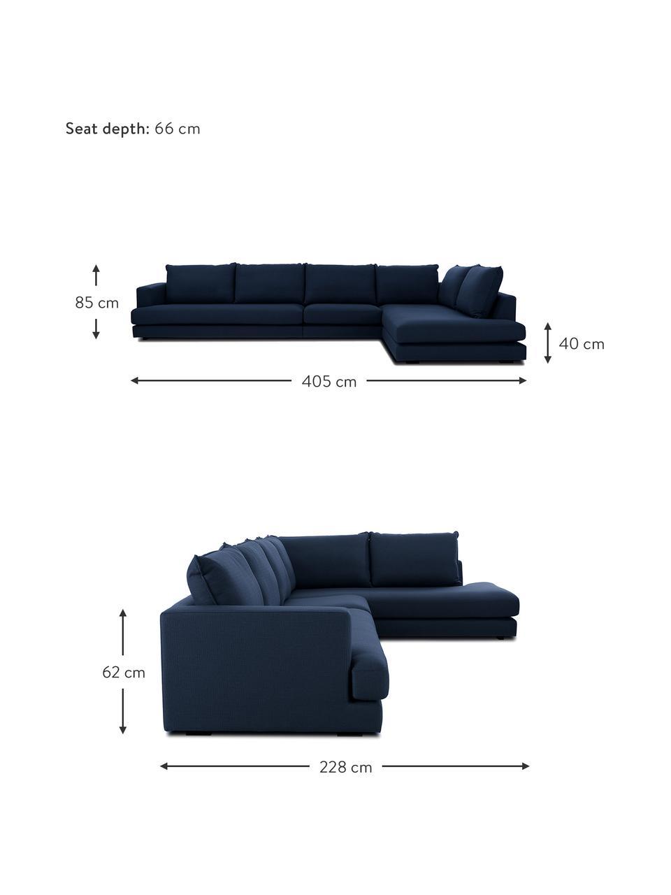 XL-Ecksofa Tribeca in Dunkelblau, Bezug: 100% Polyester Der hochwe, Gestell: Massives Buchenholz, Füße: Massives Buchenholz, lack, Webstoff Dunkelblau, B 405 x T 228 cm