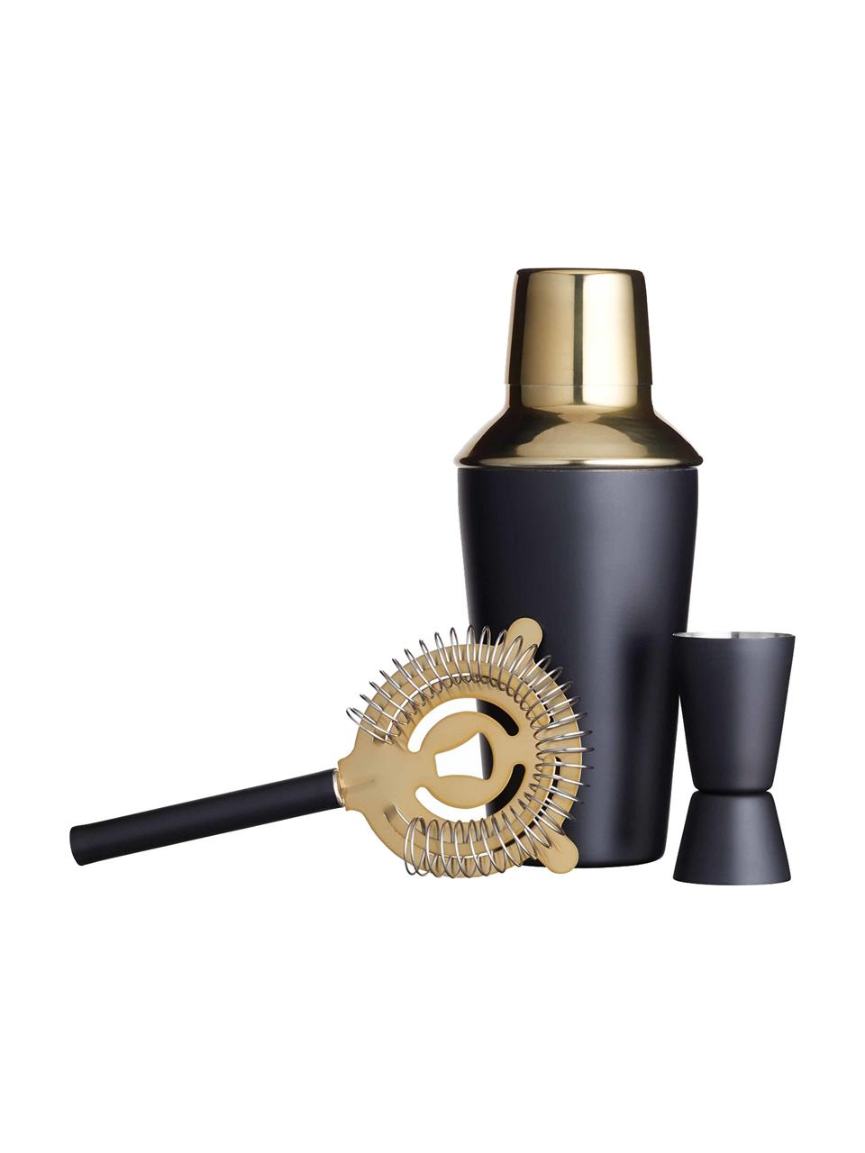 Cocktailset Menirau in zwart/goudkleurig, 3-delig, Zwart, messingkleurig, Set met verschillende formaten