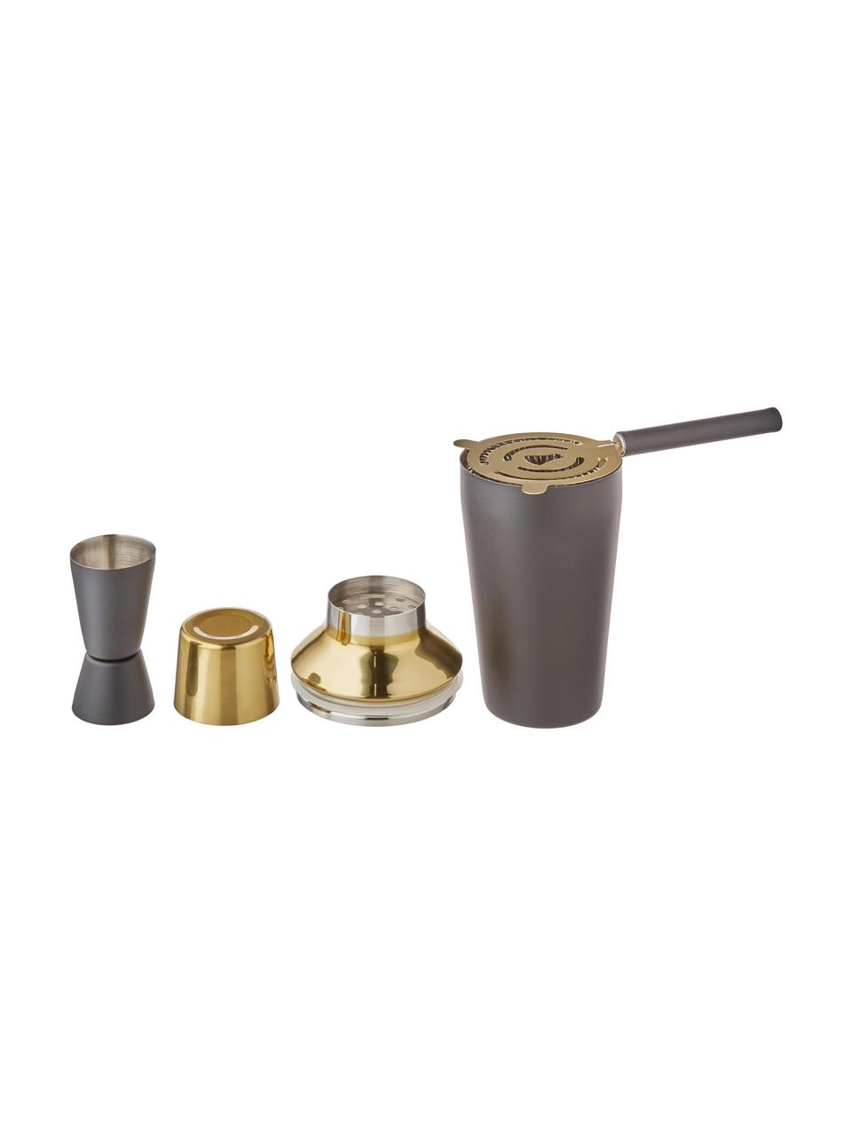 Cocktail-Set Menirau in Schwarz/Gold, 3-tlg., Schwarz, Messingfarben, Set mit verschiedenen Grössen