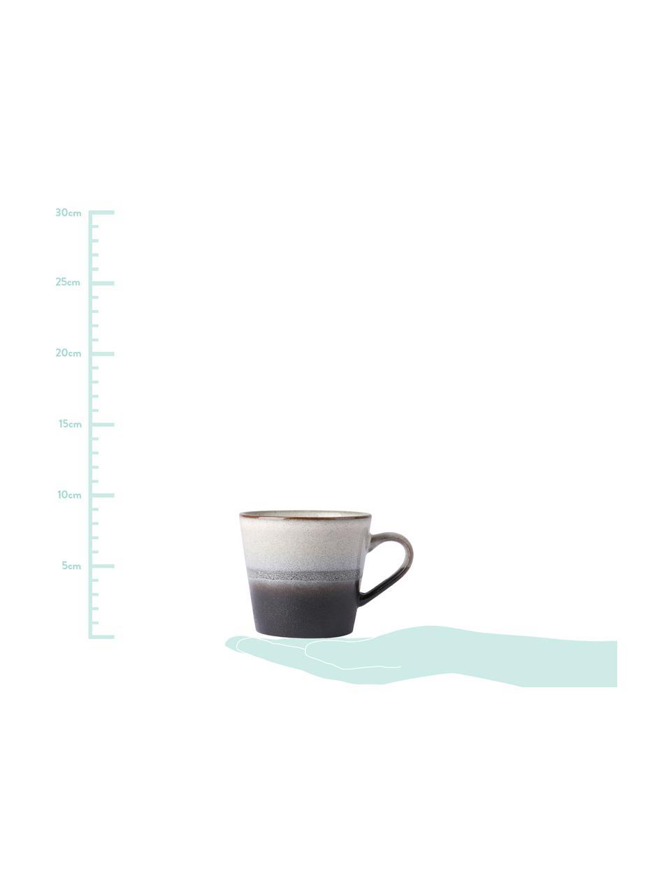 Handgemachte Cappuccinotassen 70's im Retro Style, 4 Stück, Steingut, Schwarz, Weiß, Ø 12 x H 9 cm