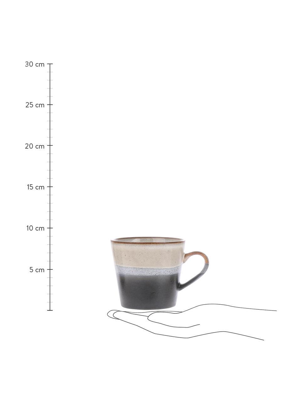 Handgemachte Tassen 70's im Retro Style, 4 Stück, Steingut, Schwarz, Weiß, Ø 12 x H 9 cm